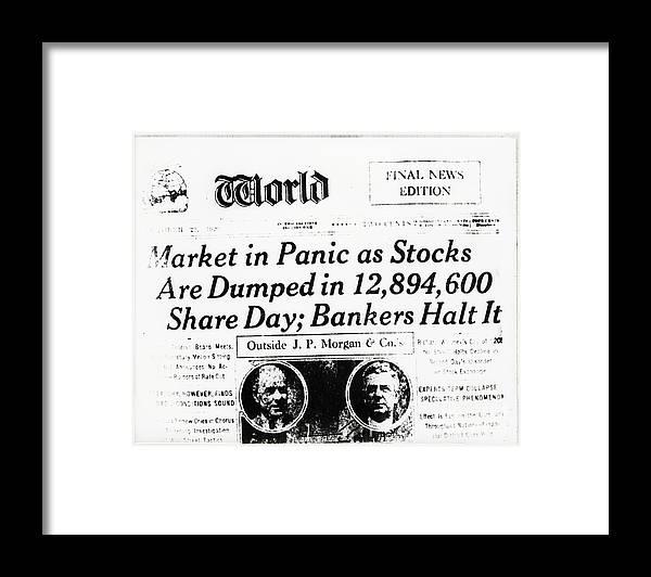 People Framed Print featuring the photograph Stock Market Crash On World Headline by Bettmann