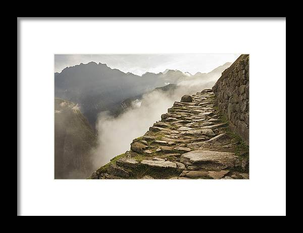 Machu Picchu Framed Print featuring the photograph Stone Inca Trail by David Madison