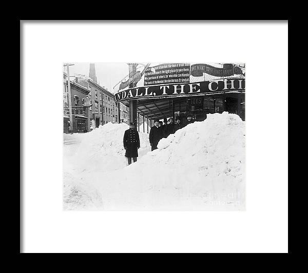 People Framed Print featuring the photograph Store Hidden By Heavy Snowfall by Bettmann