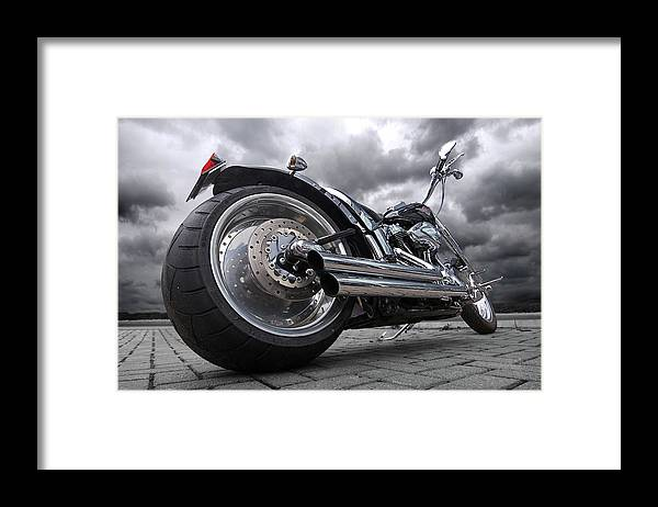 Harley Davidson Motorcycle Framed Print featuring the photograph Storming Harley by Gill Billington