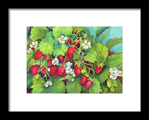 Strawberry Patch - A Ripe On The Vine Framed Print featuring the painting Strawberry Patch - A. Ripe On The Vine by Joanne Porter