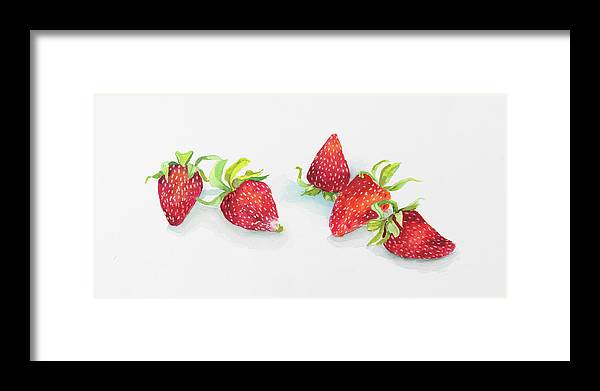 Strawberry Patch - C Ripe Berries Whole Framed Print featuring the painting Strawberry Patch - C. Ripe Berries Whole by Joanne Porter