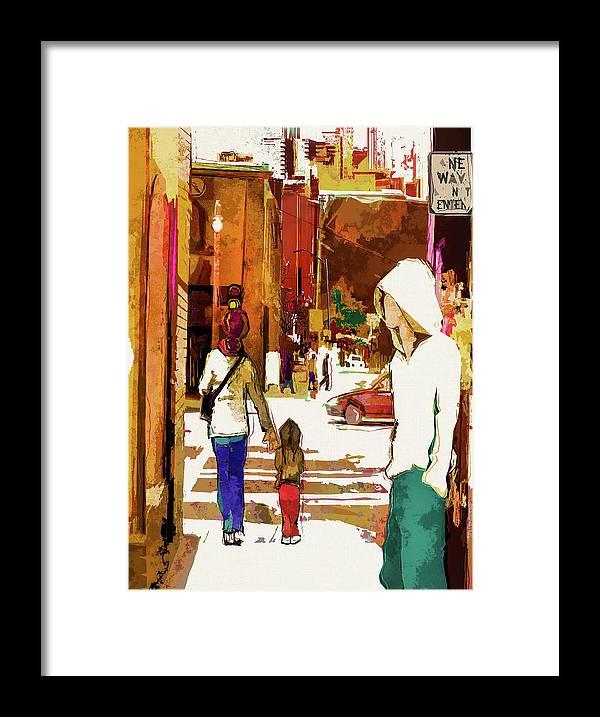 City Life Framed Print featuring the digital art Street Life Innocence by Regina Wyatt