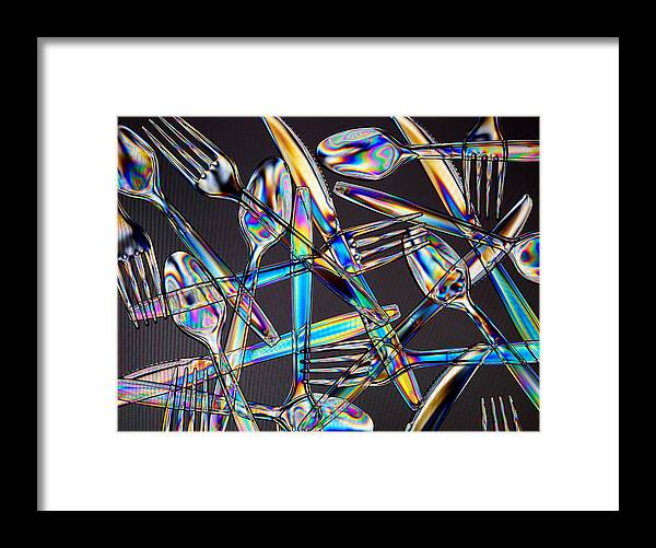 Spoon Framed Print featuring the photograph Stress Patterns In Plastic Utensils by David Hogan