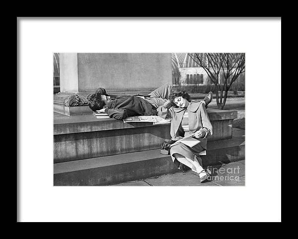 Education Framed Print featuring the photograph Students Study Outdoors In Warm Sun by Bettmann