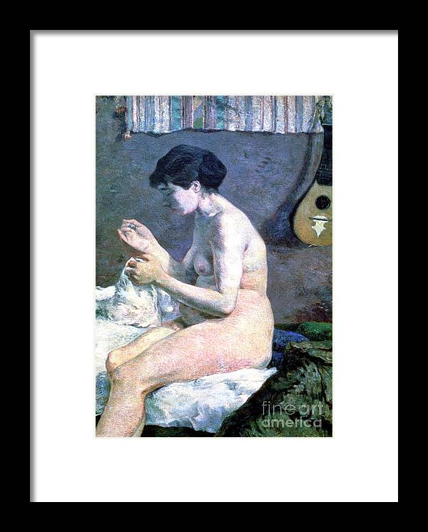 Paul Gauguin Framed Print featuring the drawing Study Of A Nude, 1880. Artist Paul by Print Collector