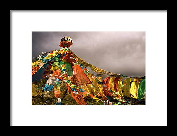 Chinese Culture Framed Print featuring the photograph Stupa, Buddhist Altar In Tibet, Flags by Stefano Tronci