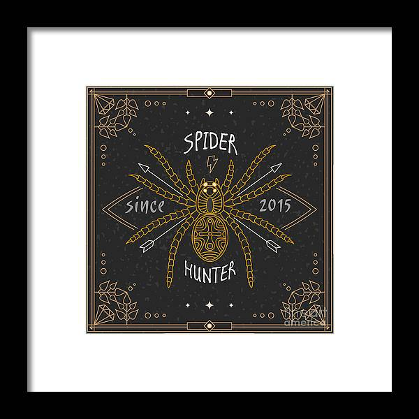 Symbol Framed Print featuring the digital art Stylish Thin Line Spider Label. Vintage by Karnoff