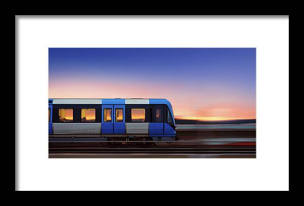 Train Framed Print featuring the photograph Subway Train In Profile Crossing Bridge by Olaser
