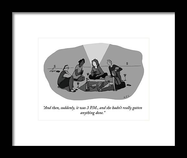 """""""and Then Framed Print featuring the drawing Suddenly It Was 3 P.M. by Hilary Fitzgerald Campbell"""
