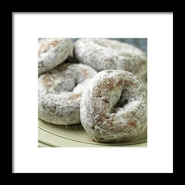 Unhealthy Eating Framed Print featuring the photograph Sugar Doughnuts by Brian Yarvin