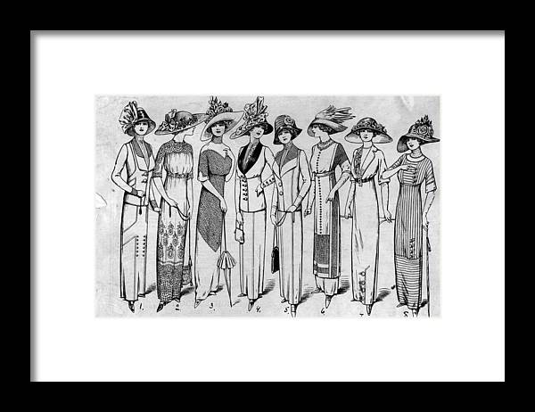 Straw Hat Framed Print featuring the photograph Suits And Dresses by Hulton Archive