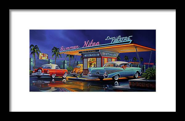 Summer Nites Framed Print featuring the painting Summer Nites by Geno Peoples