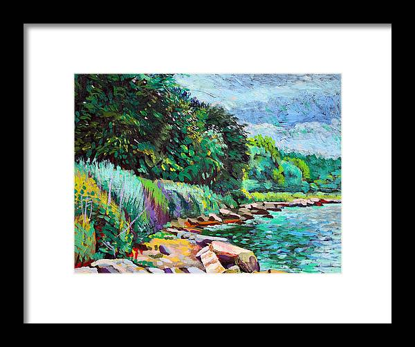 Tranquility Framed Print featuring the digital art Summer Shore Of Hudson River, New York by Charles Harker