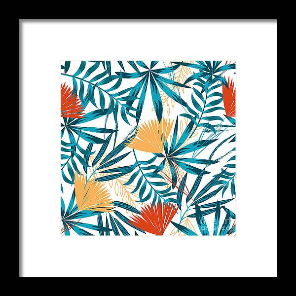 Art Framed Print featuring the digital art Summer Trend Seamless Background by Yes
