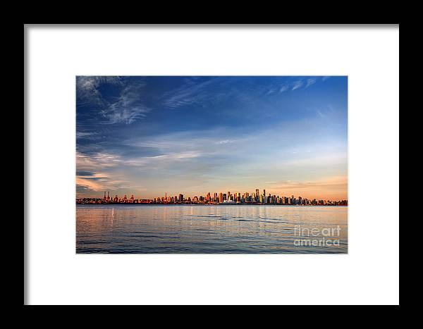 Francisco Framed Print featuring the photograph Sun Painting The City Skyline Gold by West Coast Scapes