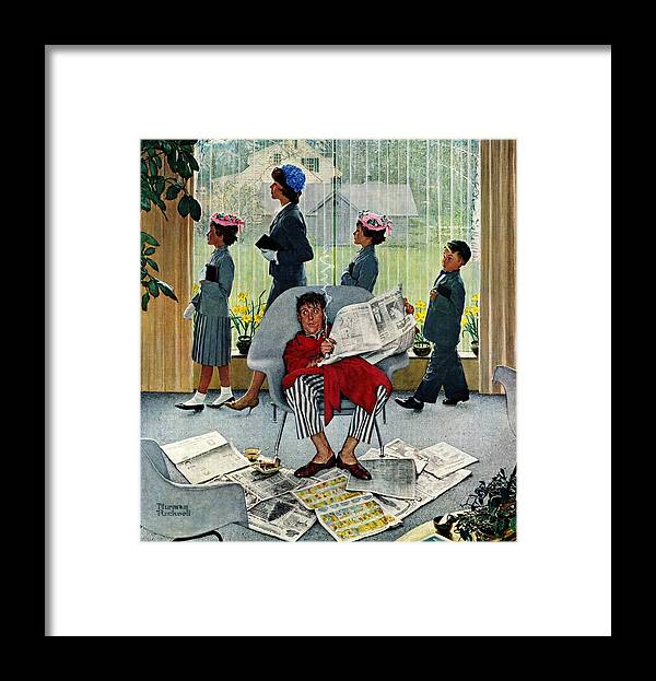 Church Framed Print featuring the drawing Sunday Morning by Norman Rockwell