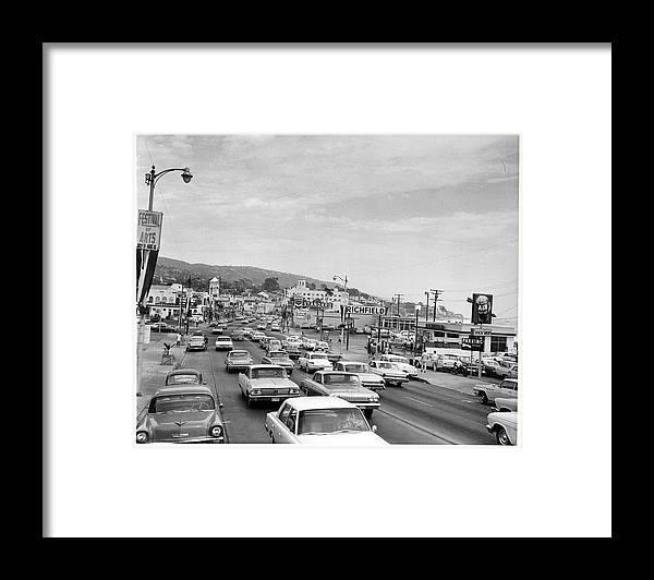 Laguna Beach Framed Print featuring the photograph Sunday Traffic In Laguna Beach by American Stock Archive