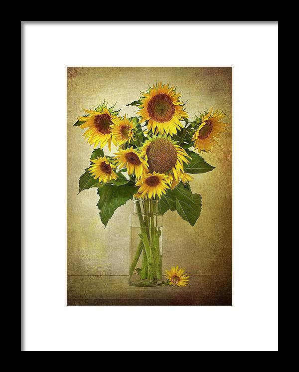 Loire Valley Framed Print featuring the photograph Sunflowers In Vase by © Leslie Nicole Photographic Art
