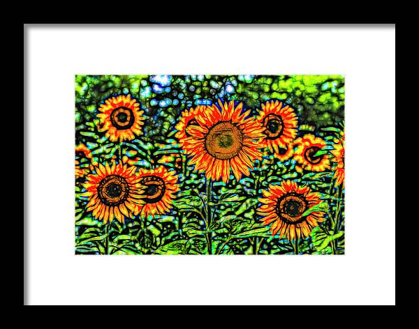 Stained Glass Flower Framed Print featuring the photograph Sunflowers Stained Glass Art by David Pyatt
