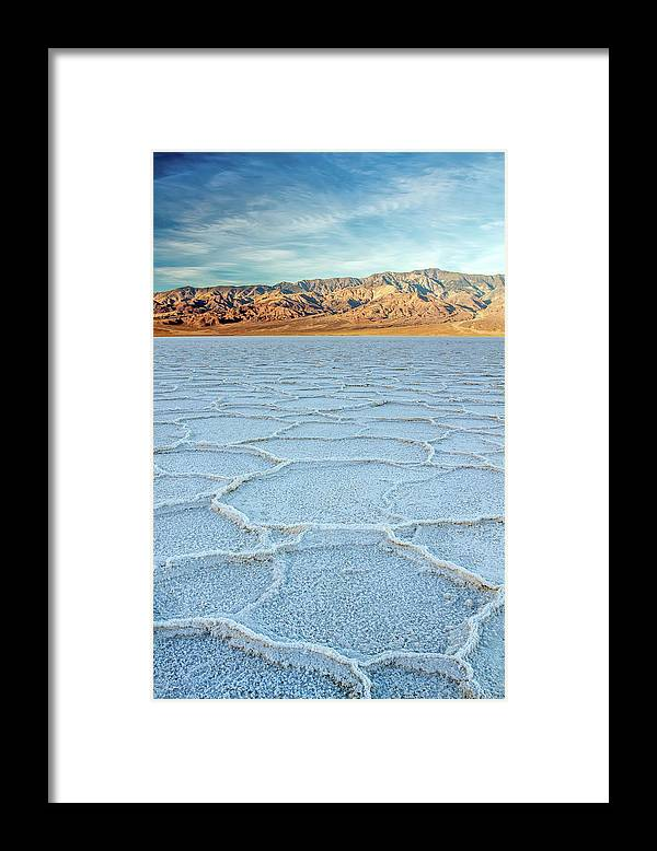 Scenics Framed Print featuring the photograph Sunrise At Badwater, Death Valley by Pierre Leclerc Photography