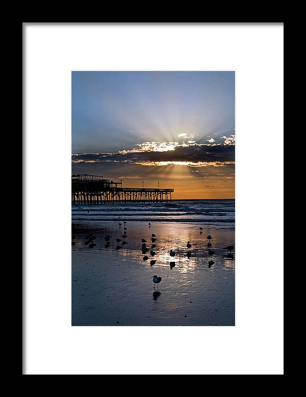 Empty Framed Print featuring the photograph Sunrise On Galveston Beach by Dhuss