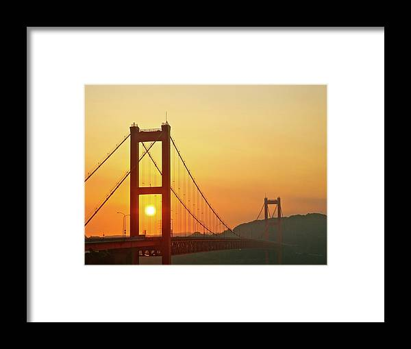 Suspension Bridge Framed Print featuring the photograph Sunrise On Hirado Bridge by Kurosaki San