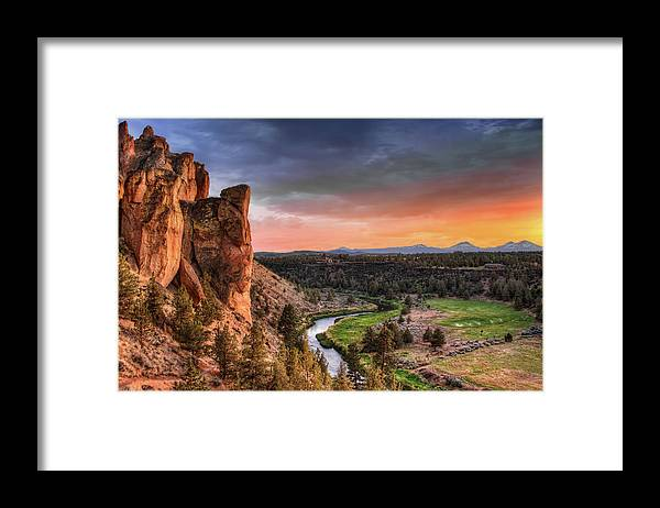 Scenics Framed Print featuring the photograph Sunset At Smith Rock State Park In by David Gn Photography