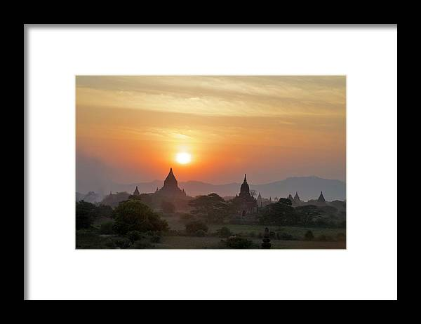 Tranquility Framed Print featuring the photograph Sunset From Atop The Shwesandaw Paya by Jim Simmen