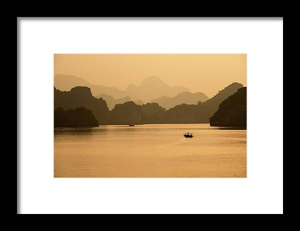 Halong Bay Framed Print featuring the photograph Sunset, Halong Bay, Vietnam by Yellow Dog Productions