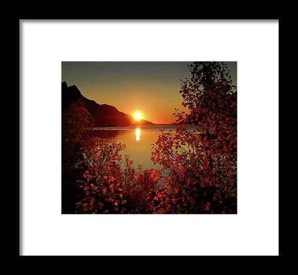 Tranquility Framed Print featuring the photograph Sunset In Ersfjordbotn by John Hemmingsen