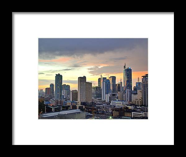 Outdoors Framed Print featuring the photograph Sunset Over Makati City, Manila by Neil Howard