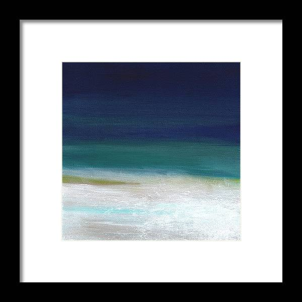 Abstract Framed Print featuring the painting Surf And Sky- Abstract Beach Painting by Linda Woods