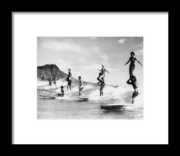 Recreational Pursuit Framed Print featuring the photograph Surf Stunts by Keystone