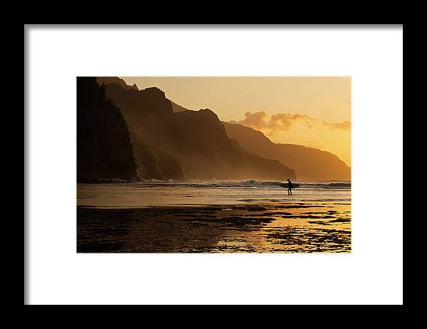 Tranquility Framed Print featuring the photograph Surfer On Beach And Na Pali Coast Seen by Enrique R. Aguirre Aves