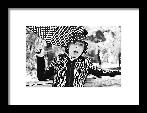 Black And White Framed Print featuring the photograph Surprise by Paola Baroni