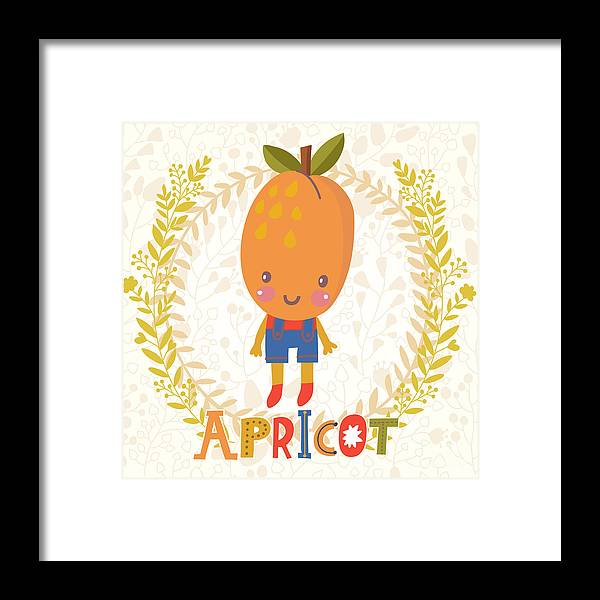Salad Framed Print featuring the digital art Sweet Apricot In Funny Cartoon Style by Smilewithjul