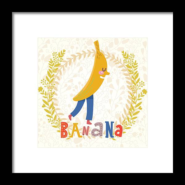 Salad Framed Print featuring the digital art Sweet Banana In Funny Cartoon Style by Smilewithjul