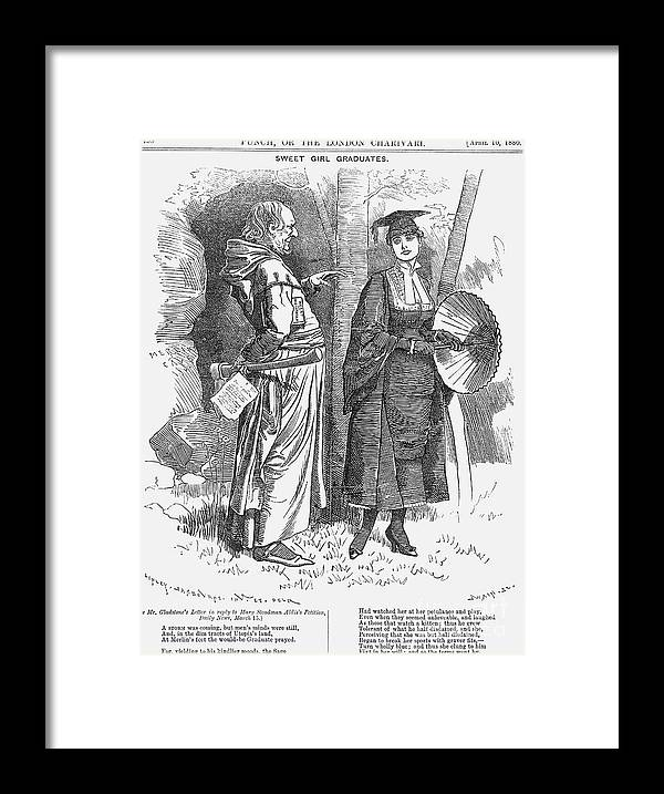 Engraving Framed Print featuring the drawing Sweet Girl Graduates, 1880. Artist by Print Collector