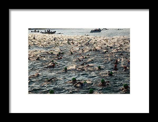 Seascape Framed Print featuring the photograph Swim Start Of Triathlon In Kailua Bay by Alvis Upitis