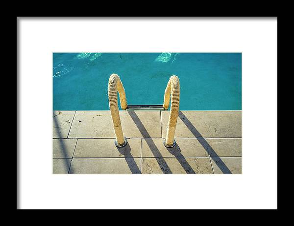 California Framed Print featuring the photograph Swimming Pool Ladder, Los Angeles by Alvis Upitis