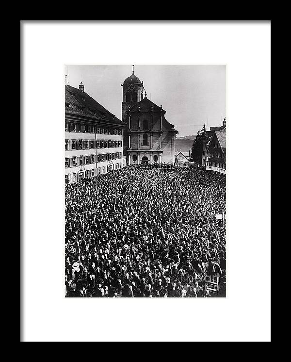People Framed Print featuring the photograph Swiss Open Air Meeting by Bettmann