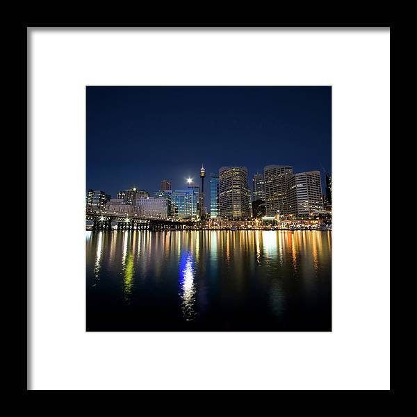 Scenics Framed Print featuring the photograph Sydney Darling Harbour Twilight by Matejay