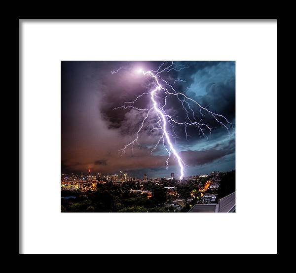Tranquility Framed Print featuring the photograph Sydney Summer Lightning Strike by Australian Land, City, People Scape Photographer