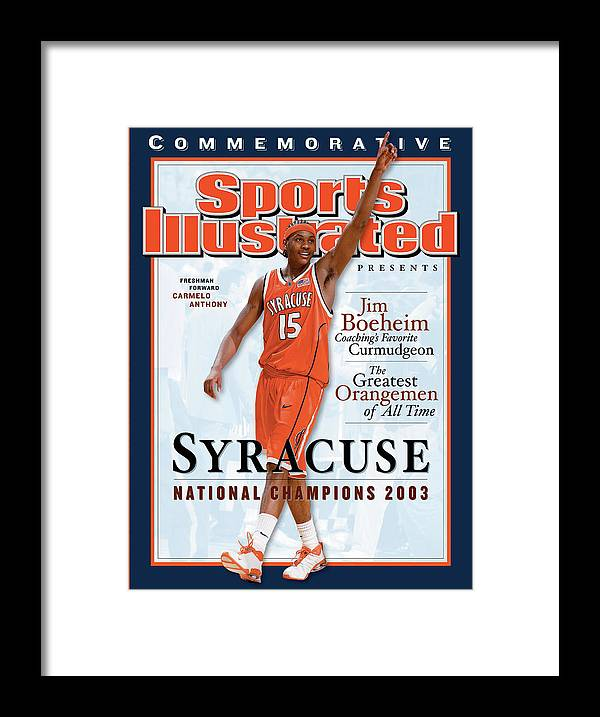 Louisiana Superdome Framed Print featuring the photograph Syracuse University Carmelo Anthony, 2003 Ncaa National Sports Illustrated Cover by Sports Illustrated