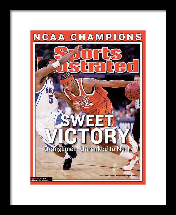 Sports Illustrated Framed Print featuring the photograph Syracuses Carmelo Anthony, 2003 Ncaa National Championship Sports Illustrated Cover by Sports Illustrated