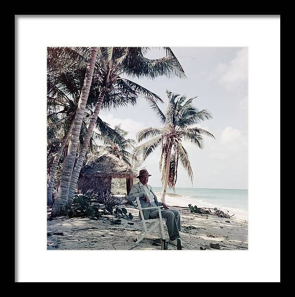 Beach Hut Framed Print featuring the photograph T. S. Eliot by Slim Aarons