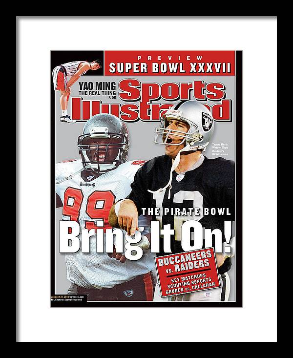 Magazine Cover Framed Print featuring the photograph Tampa Bay Buccaneers Vs Oakland Raiders, Super Bowl Xxxvii Sports Illustrated Cover by Sports Illustrated