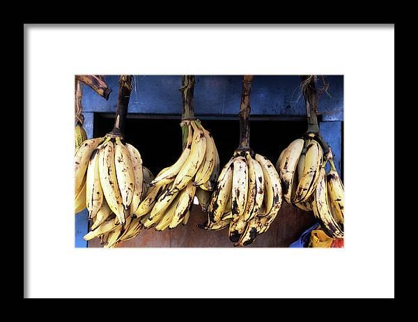 Hanging Framed Print featuring the photograph Tanzania, Zanzibar, Bananas For Sale In by John Seaton Callahan