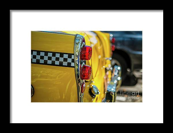 Outdoors Framed Print featuring the photograph Taxi Tail Light, New York City, New by Kai Sarton